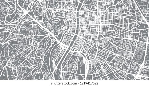 Urban vector city map of Lyon, France