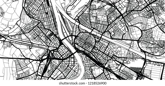Urban vector city map of Mannheim, Germany