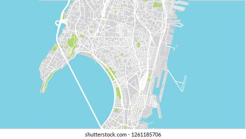 Urban vector city map of Mumbai, India