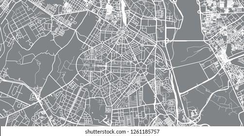 Urban vector city map of New Delhi, India