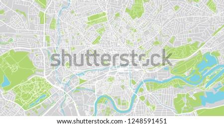 Urban Vector City Map Nottingham England Stock Vector Royalty Free