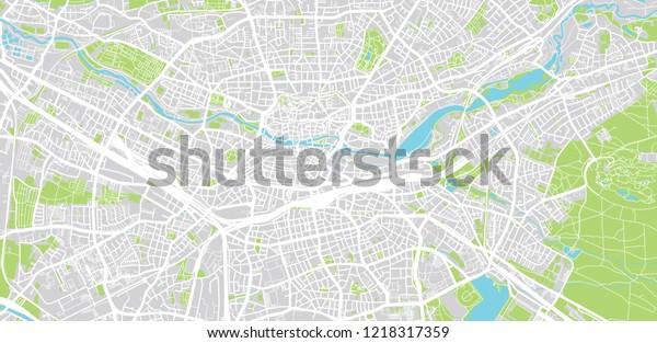 Nuremberg Map Of Germany.Urban Vector City Map Nuremberg Germany Buildings