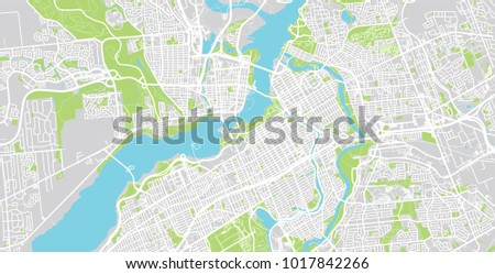 Urban Vector City Map Ottawa Canada Stock Vector (Royalty Free ...