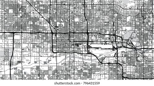 Urban vector city map of Phoenix, Arizona, USA