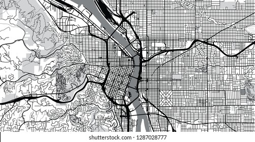 Urban vector city map of Portland, Oregon, United States of America