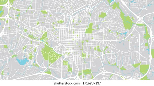 Urban vector city map of Raleigh, USA. North Carolina state capital