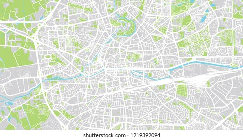 Urban vector city map of Rennes, France