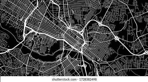 Urban vector city map of Richmond, USA. Virginia state capital