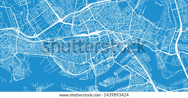 Urban Vector City Map Rotterdam Netherlands Stock Vector ...