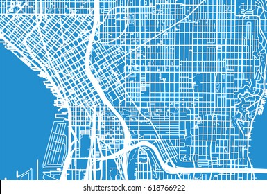 Urban vector city map of Seattle, USA