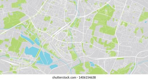 Urban vector city map of Sosnowiec, Poland