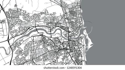 Urban vector city map of Sunderland, England