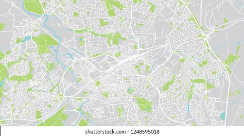 Urban vector city map of Swindon, England