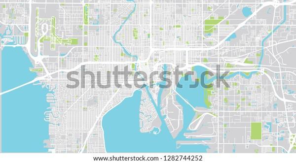 Urban Vector City Map Tampa Florida Stock Vector (Royalty ...