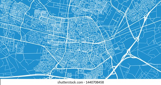 Urban vector city map of Tilburg, The Netherlands
