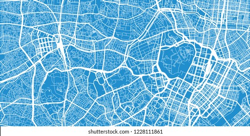 Urban vector city map of Tokyo centre, Japan