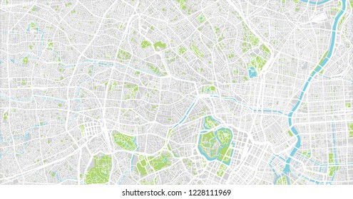 Urban vector city map of Tokyo, Japan