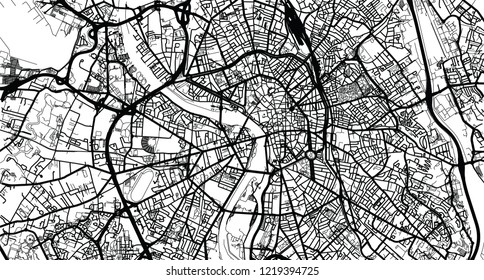 Urban vector city map of Toulouse, France