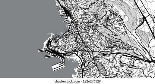 Urban vector city map of Trieste, Italy