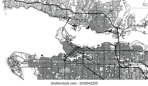 Urban vector city map of Vancouver, Canada