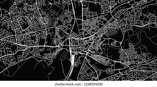 Urban vector city map of Warrington, England