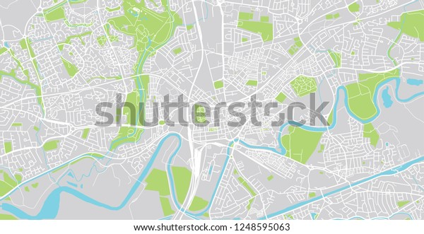 Urban Vector City Map Warrington England Stock Vector (Royalty Free ...