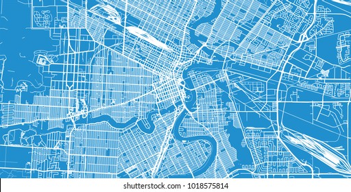 Urban vector city map of Winnipeg, Canada