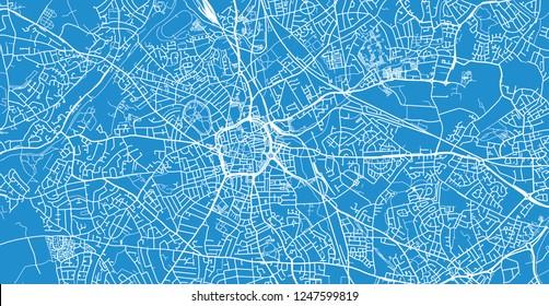 Urban vector city map of Wolverhampton, England