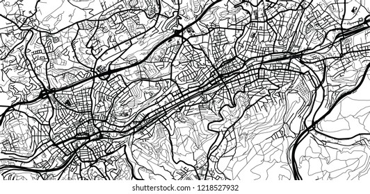 Urban vector city map of Wuppertal, Germany