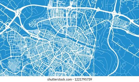 Urban vector city map of Zaragoza, Spain