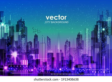 Urban vector cityscape at night. Skyline city silhouettes. City background with architecture, skyscrapers, megapolis, buildings, downtown.