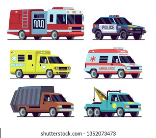 Urban vehicles. City police car, emergency vehicle, ambulance, tow truck, fire truck, garbage truck. Flat icons set. Vector illustration