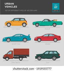 Urban vehicles. Set of different types of vector cars: sedan, hatchback, suv, pickup, mini truck, sport car. Cartoon flat illustration, auto for graphic and web design.
