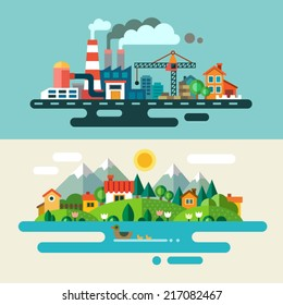 Urban and village landscape. Ecology, environmental protection: production, factory, plant, pollution, smoke, building. Vector flat illustrations
