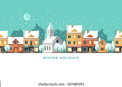 Urban winter landscape. Snowy street. Christmas card Happy Holidays banner. Vector illustration flat design.