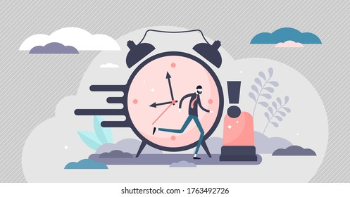 Urgency in business project deadline flat tiny persons concept vector illustration. Time management with stressful hurry moment abstract visualization. Professional businessman important occasion.