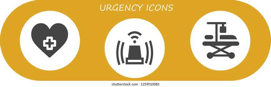 urgency icon set. 3 filled urgency icons. Simple modern icons about  - Hospital, Siren, Hospitalization