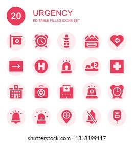 urgency icon set. Collection of 20 filled urgency icons included Hospital, Alarm, Nasal spray, Earthquake, Emergency, Siren, Ambulance lights, Medical kit, Saline