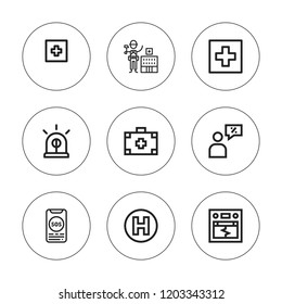 Urgency icon set. collection of 9 outline urgency icons with earthquake, hospital, medical kit, sos, salesman icons. editable icons.