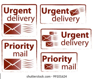 Urgent delivery and priority mail vector stamp collection
