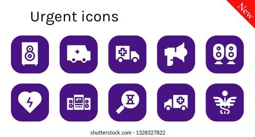 urgent icon set. 10 filled urgent icons.  Collection Of - Loudspeaker, Ambulance, Defibrillator, Sandclock, Caduceus