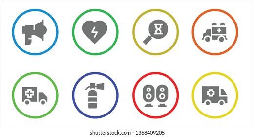 urgent icon set. 8 filled urgent icons.  Simple modern icons about  - Loudspeaker, Ambulance, Defibrillator, Extinguisher, Sandclock