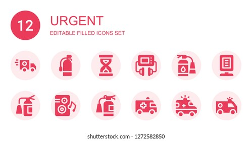 urgent icon set. Collection of 12 filled urgent icons included Ambulance, Extinguisher, Sandclock, Defibrillator, Loudspeaker, Announcer