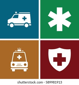 urgent icons set. Set of 4 urgent filled icons such as medical sign
