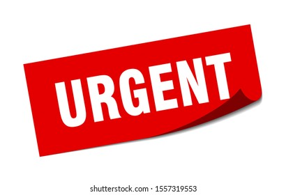 urgent tag. urgent square isolated peeler. paper sticker on white background