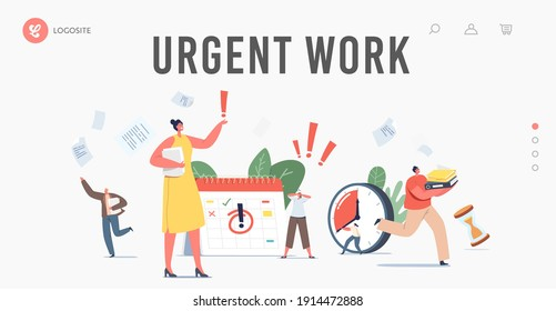 Urgent Work, Deadline Landing Page Template. Anxious Tiny Business Characters in Chaos Office Workplace. People Run with Paper Documents, Calendar and Alarm Clock. Cartoon People Vector Illustration
