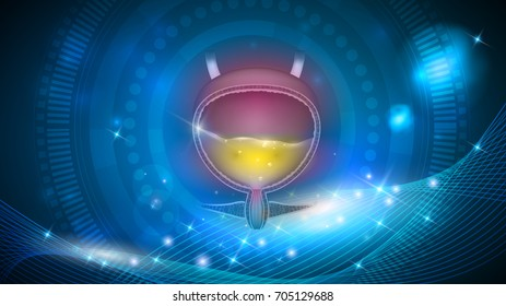 Urinary bladder abstract design, beautiful blue artistic background.
