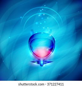 Urinary bladder protection abstract design on a beautiful blue background.