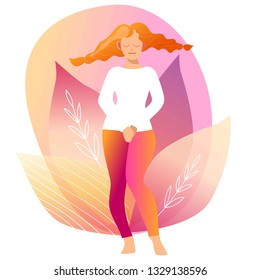 Urinary incontinence, cystitis, involuntary urination woman vector illustration. Bladder problems. Menopause, woman health, genital infection, hygiene. Female problems.