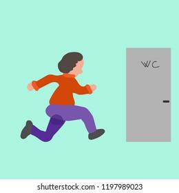 Urinary incontinence, involuntary urination woman vector illustration